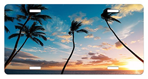 Price comparison product image Palm Tree License Plate by Lunarable,  Sunset Trees in Hawaii Exotic Tropical Paradise with Open Sky Dreamy Picture,  High Gloss Aluminum Novelty Plate,  5.88 L X 11.88 W Inches,  Blue Orange