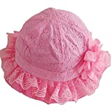 trolley ankle - Topprom Baby Girl Flap Sun Protection Swim Hat Eyelet Embroidery Cooling Cap (Rose-Pink)