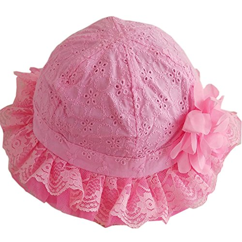 Studded Eyelet (Topprom Baby Girl Flap Sun Protection Swim Hat Eyelet Embroidery Cooling Cap (Rose-pink))