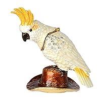 HSRT Cockatiel Trinket Jewelry Ring Box Crystals Jeweled Cockatoo Bird Figurine Gifts