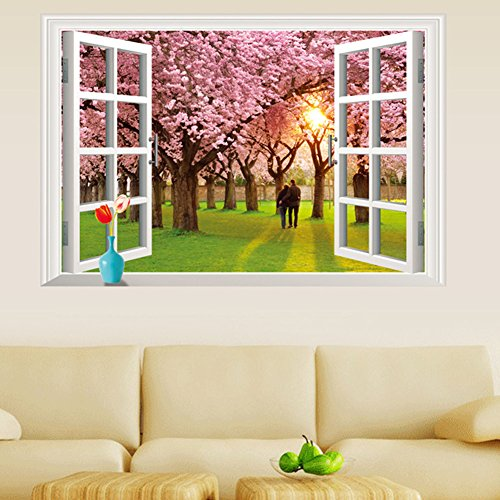 LAONA Romantic living room bedroom cherry tree 3D window wall stickers waterproof removable
