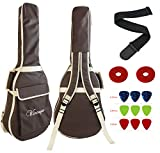 Vizcaya 41 Inch Waterproof Dual Adjustable Shoulder Strap Acoustic Guitar Gig Bag 15mm Padding Backpack with Accessories(Adult Guitar Strap,Picks,Strap Lock) --Coffee
