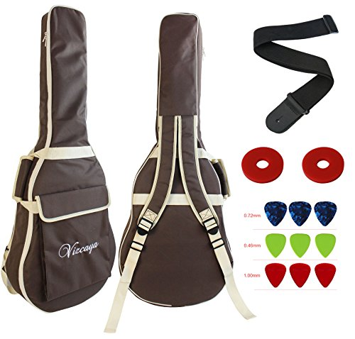 Vizcaya 41 Inch Waterproof Dual Adjustable Shoulder Strap Acoustic Guitar Gig Bag 15mm Padding Backpack with Accessories(Adult Guitar Strap,Picks,Strap Lock) --Coffee ()