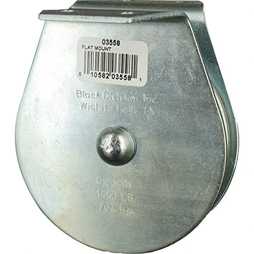 Block Division - 1, 550 Lbs. Load Limit, Flat Standard Block Upright Mount, Single Sheave, 3-3/4 Inch Outside Diameter