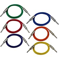 GLS Audio 3ft Patch Cable Cords - 1/4 TRS To 1/4 TRS Color Cables - 3 Balanced Snake Cord - 6 PACK