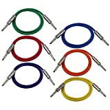 GLS Audio 3ft Patch Cable Cords - 1/4'' TRS To 1/4'' TRS Color Cables - 3' Balanced Snake Cord - 6 PACK