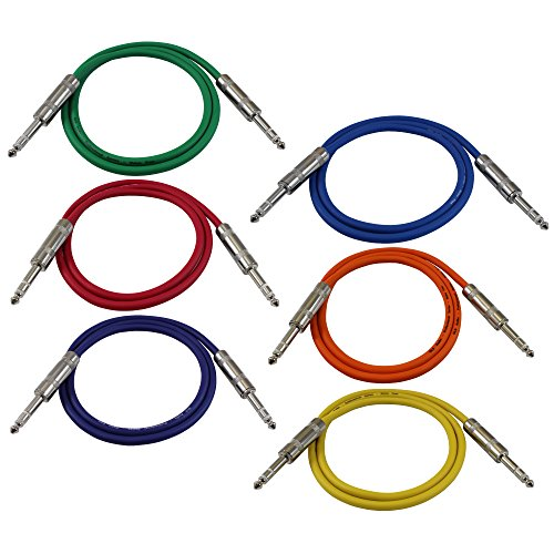 GLS Audio 3ft Patch Cable Cords - 1/4'' TRS To 1/4'' TRS Color Cables - 3' Balanced Snake Cord - 6 PACK by GLS Audio