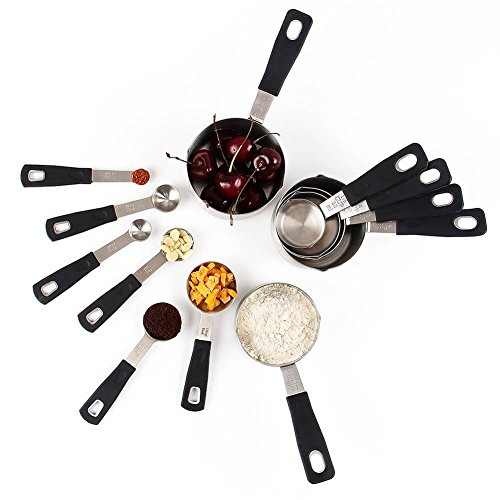 - Rorence 18-8 Stainless Steel Measuring Cups and Spoons Set of 12 with Long Silicone Handle, Black