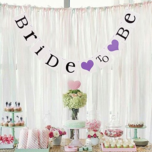 Bride to Be Wedding Banner Bunting Bride Garland Hen Party Bachelorette Party Decoration , Purple ()