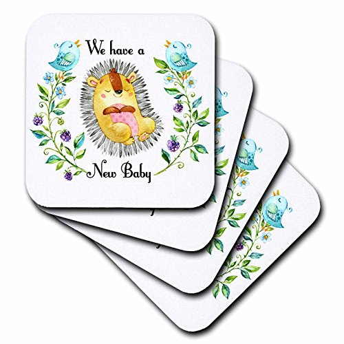 Baby Announcement Tile - 3dRose TNMGraphics Baby Announcement - New Baby Cute Animal Flowers on Either Side - set of 8 Ceramic Tile Coasters (cst_286298_4)