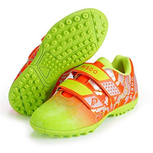 (PISDO Kids Soccer Cleats Indoor/Outdoor Training Turf Soccer Shoes for Boys and Girls (Little Kids/Big Kids) Orange 13)