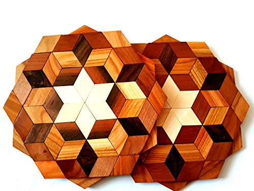 (Wood Trivets For Hot Dishes Set of 2- Table Decor,Teapot -Trivets For Hot Pots and Pans - Perfect Kitchen Gifts Idea (Diameter - 8 Inch.))