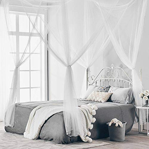 Wuudi Decorative 4 Corner Bed Netting Canopy Curtains Black Mosquito Netting Mesh Post Mosquito Net Princess Bed Canopy Fit for Double Bed Bedroom Decor