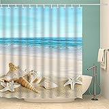 Beach Shower Curtain Jibin Bong 72 X 72 Inch Blue Sky Tropical Beach Shower Curtain Starfish Conch Seashell Shower Curtains - Waterproof Fabric Polyester Bathroom Decor Ocean Shower Curtain