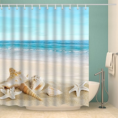 Jibin Bong 72 X 72 Inch Blue Sky Tropical Beach Shower Curtain Starfish Conch Seashell Shower Curtains - Waterproof Fabric Polyester Bathroom Decor Ocean Shower Curtain ()