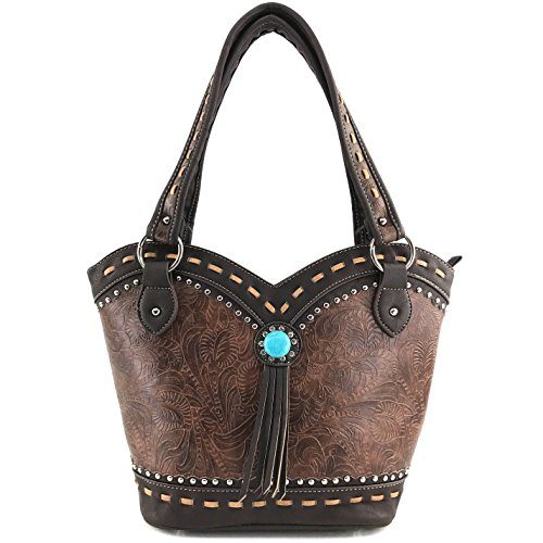 Justin West Tooled Western Leather Turquoise Stone Fringe Studded Shoulder Concealed Carry Handbag Purse (Brown - Tooled Leather Fold Tri