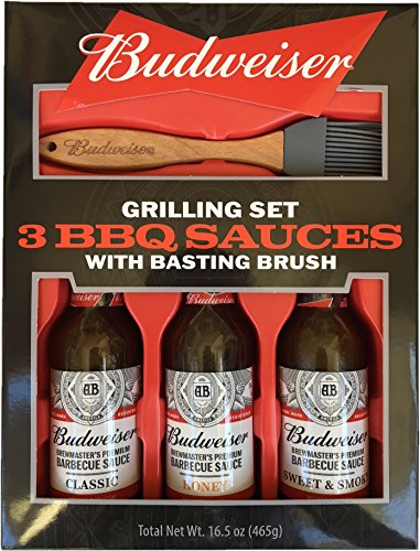 Marketplace Brands Budweiser Grilling Set - 3 BBQ Sauces with Basting - Gift Bbq Set Sauce