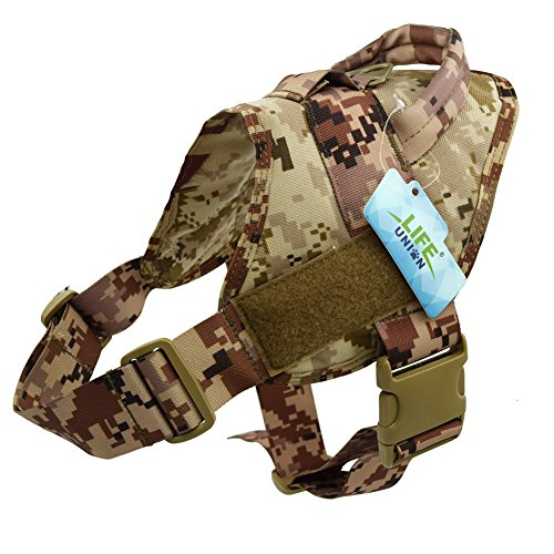 Lifeunion Tactical Dog Vest Nylon Patrol Waterproof K9 Service Dog Vest Harness for Training Hiking Outdoor Sports(AOR1,L)