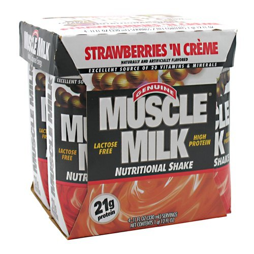 CytoSport Muscle Milk Ready-to-Drink Shake, Strawberries and Creme, 11 Ounce, Pack of 24