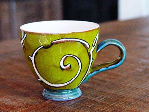 Green Pottery Mug, Ceramic Mug for Tea or Coffee, Cute Mug