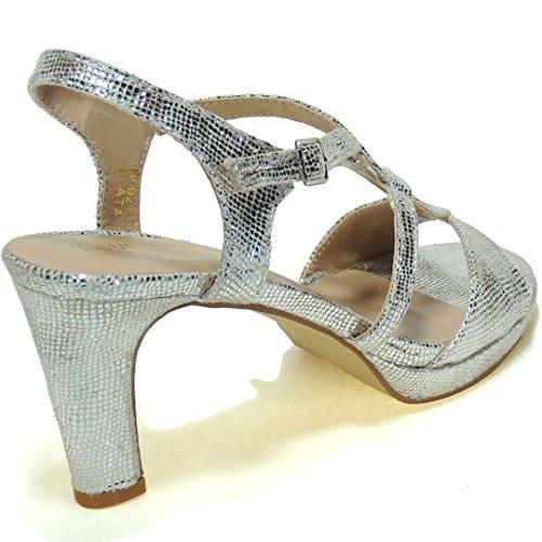Calzados Romero Urbanitas. Zapatos Sandalia Fiesta Tacón 8.5 cm - Modelo M7021 PLATA
