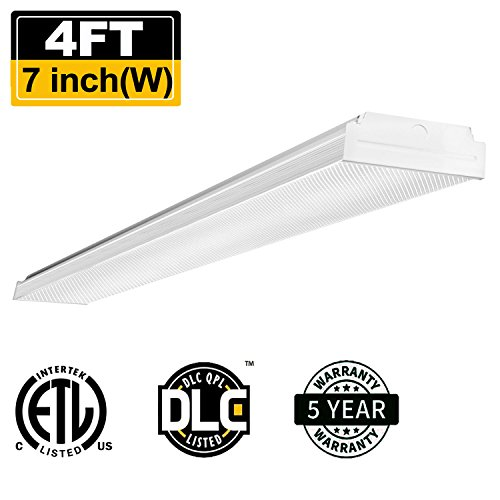 AntLux 4ft LED Garage Shop Lights, LED Wraparound Light Fixture 40W, 4800 Lumens, 4000K Neutral White, 4 Foot Integrated Low Profile Linear Flushmount Ceiling Lighting, 120W Fluorescent - White Fluorescent Ceiling Light