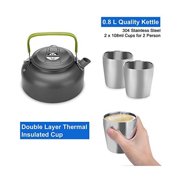 Odoland Camping Kochgeschirr Set 10-teiliges Outdoor Kochgeschirr 0.8L Teekessel mit 2 Tassen Faltbare Besteck Tragbar…