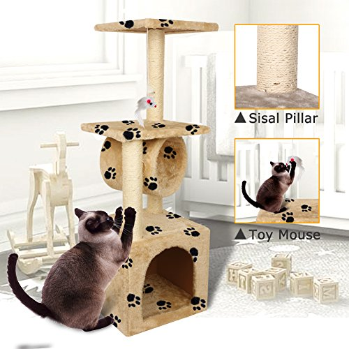 Yohoz 36in Deluxe Faux Fur Level Cat Tree Condo Furniture Climbing Activity Tower Scratching Scratcher Post Kittens Pet Play House and Tunnel Play Toy (Paw) by Yohoz (Image #4)