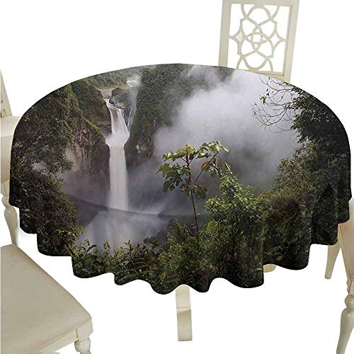 duommhome Rainforest Oil-Proof Tablecloth San Rafael Falls Ecuador Misty Natural Waterfall in Lush Jungle Landmark Scene Easy Care D51 Green Grey