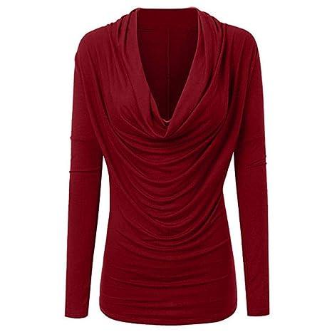 Mujer camiseta blusa tops manga larga otoño,Sonnena Camisa casual para mujer Tops Camisa con