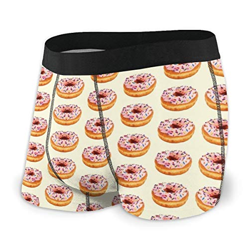 Men's Boxer Briefs Soft Underwear Doughnut Yellow No Ride Up Stretch Sport Short (Best Donuts In Columbus)