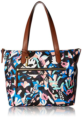 Fossil Fiona E/W Tote Bag, Black Floral,One Size (Sydney Fossil Tote)