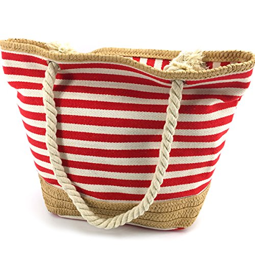 (MeliMe X-Large Travel Shoulder Beach Tote Bag with Handmade Woven Straw Binding, Cotton Rope Handles, Waterproof Lining and a pocket inside.)