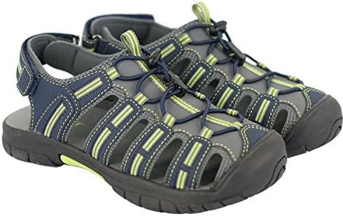 Khombu Kids Boy s Closed Toe Athletic Water Sandal Shoe, Navy Grey Lime
