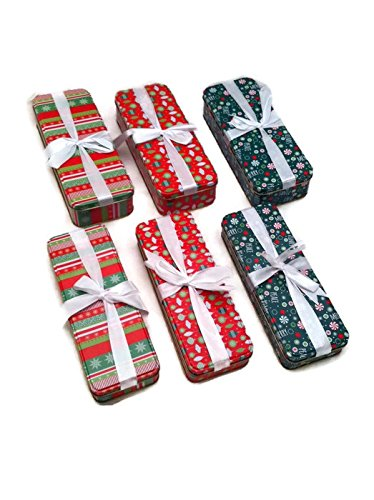Set of 6 Nesting Rectangular Christmas Holiday Tins with Ribbon in 3 (Nesting Tins)