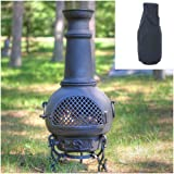 Blue Rooster Gatsby Style Wood Burning Outdoor Metal Chiminea Fireplace Charcoal Color with Large Black Cover For Sale