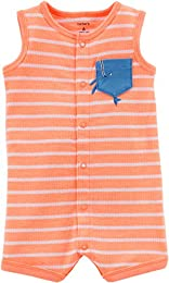 Boys Whale Print Pocket Neon Snap-up Cotton Romper  Orange   White Striped