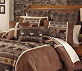 4 Piece Rustic Wildlife Inspired Theme Comforter Set King Size, Featuring Deer Bear Fish Pine Bordered Design Comfortable Bedding, Country Cabin Style Bedroom Decoration, Brown, Green, Multicolor