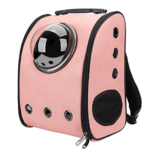 Geralds Portable Pet Carrier Backpack Space Capsule PU Leather Dog Cat Small Animals Travel Bag Brown (Lenis Pet Carrier)