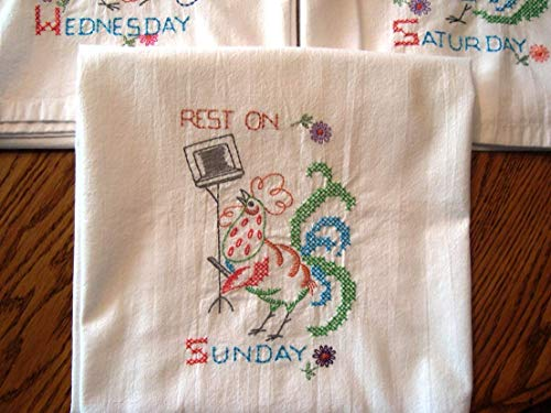 Days of the Week tea towels, vintage rooster pattern, embroidered dish towels, flour sack towels