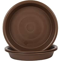 Plant Saucer 4 inch, Large Planter Durable Thicker Plastic Plant Trays for Indoors and Outdoor, Plant Saucer Drip Trays,Brown (4″ - 3 Pack)