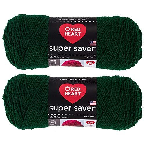 Bulk Buy: Red Heart Super Saver (2-pack) (Hunter Green, 7 oz each skein)