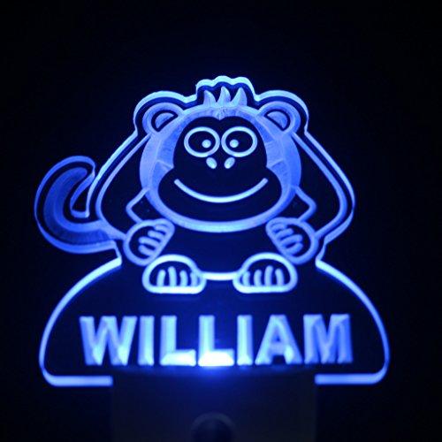 ws1008-tm Monkey Personalized Night Light Baby Kids Name Day