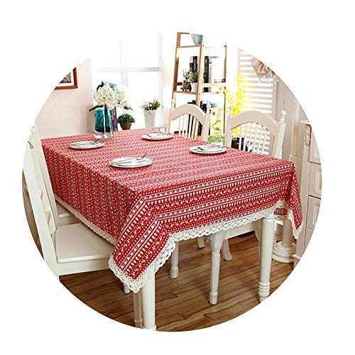 COOCOl Great Home Decor Tablecloth Xmas Tree Deer Printed Cotton&Polyester Table Cloth Dust Cover with Lace,Red with Lace,140220Cm -