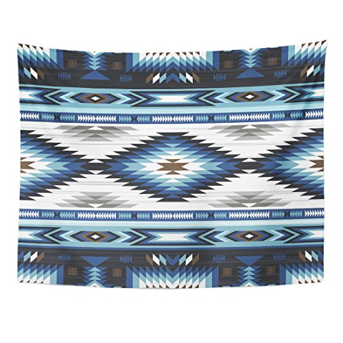 TOMPOP Tapestry Blue Colors Tribal Navajo Pattern Aztec Abstract Geometric Ethnic Home Decor Wall Hanging for Living Room Bedroom Dorm 60x80 Inches