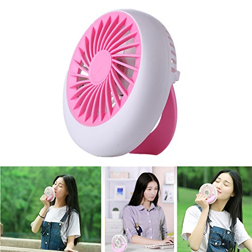 Outdoor USB Fan Rechargeable Portable,MeiLiio Office Desk Fan Circular USB Small Fan Battery Natural Wind 1200mA with 3 Speed Adjustable Handheld Fans for Kids Children Gift Bedroom (Pink)