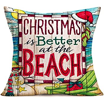 Hopyeer Christmas is Better at Beach Decor Throw Pillow Covers Wood Ocean Merry Christmas Chair Travel Snowman Slipper Xmas Hat Pillowcase Cotton Linen Home Sofa Car Cushion Cover 18