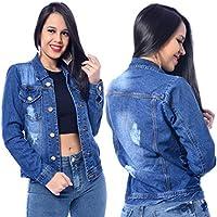 Jaqueta Feminina Jeans Azul Claro Manga Longa Bolsos Botões Casaco Moda