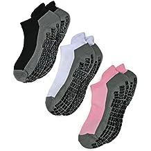 Deluxe Super Grips Anti Slip Non Skid Yoga Hospital Socks for Adults Men Women