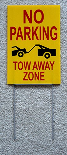 GVGs Shop 1-Pcs Preeminent Popular No Parking Tow Away Zone Sign Plastic Outdoor Yard Warning Decal Size 8